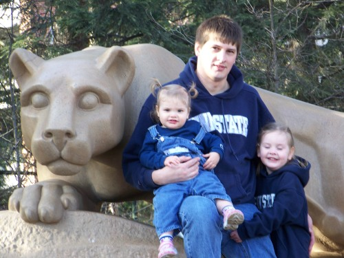 A great Daddy doesn't just teach the kids about Penn State love, he decks them out and brings them to the Lion Shrine.