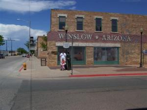 Keith, Kait and Kour standing on the corner in Winslow, AZ
