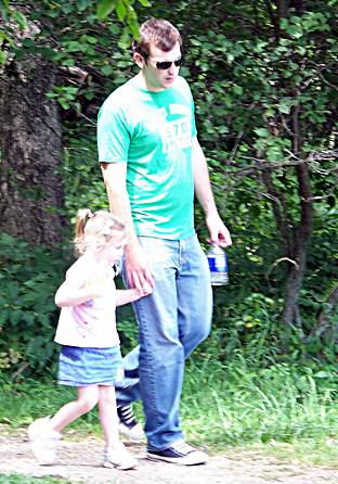 Uncle David with Kaitlyn on a Shenandoah  hike last summer.