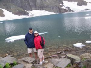 We made it!  Us at Iceberg Lake, courtesy of my mini-tripod.