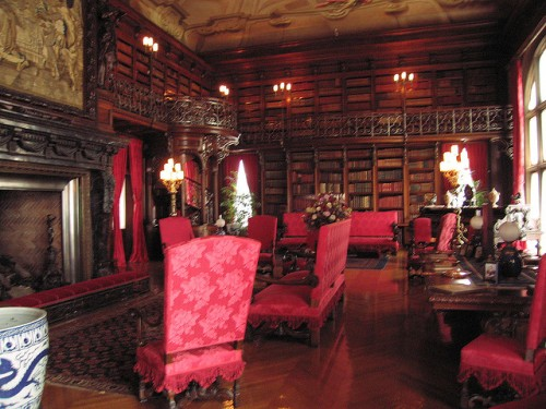 The library at Biltmore; there is a secret passage through and into the second story of the fireplace!