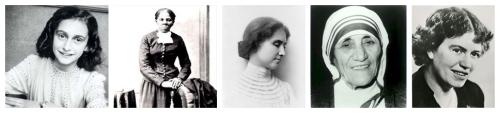 Anne Frank, Harriet Tubman, Helen Keller, Mother Teresa, Margaret Mead