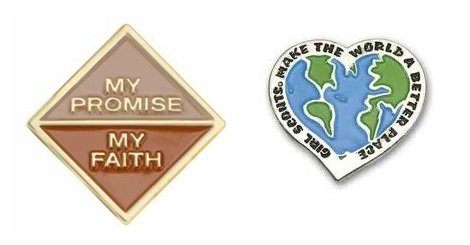 My Promise My Faith Brownie Award Pin; Girl Scouts Make the World a Better Place Patch